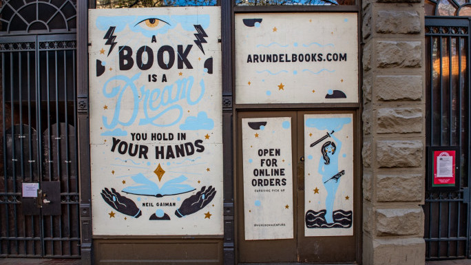 Arundel Books mural created by Amanda Joyce Bishop, lettering by Ty Kreft. Sponsored byIndividual Business Owner. Picture Courtesy of Jean Sherrard.
